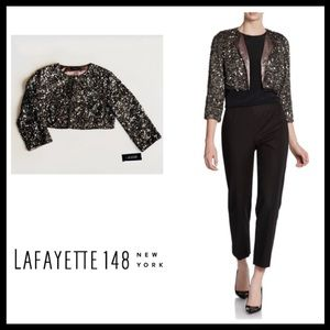 LAFAYETTE 148 Jacket Silver Sequin Cropped $898